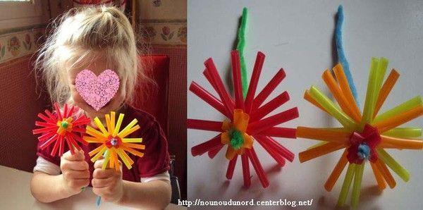 Fleurs de Lison réalisées avec des pailles