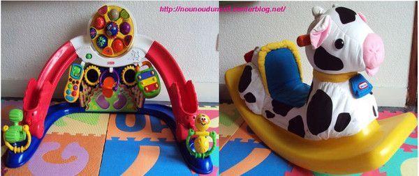 jouets pour les plus petits portique à balles, bascule vache