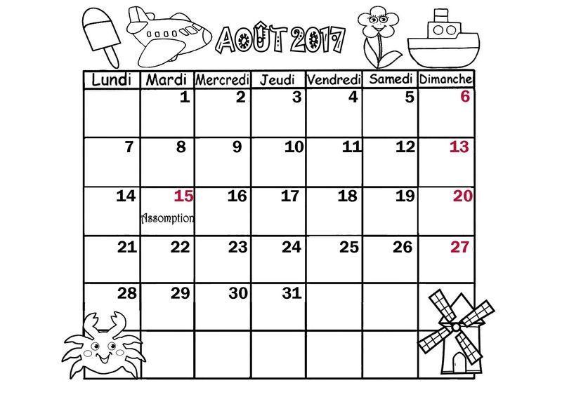"""Résultat de recherche d'images pour """"calendrier aout 2017"""""""