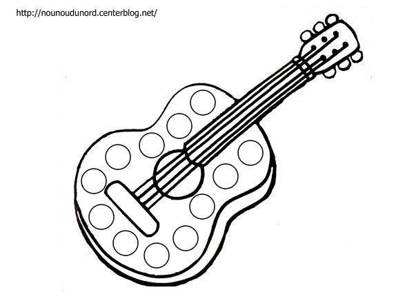 Coloriage à gommettes la guitare dessiné par nounoudunord.