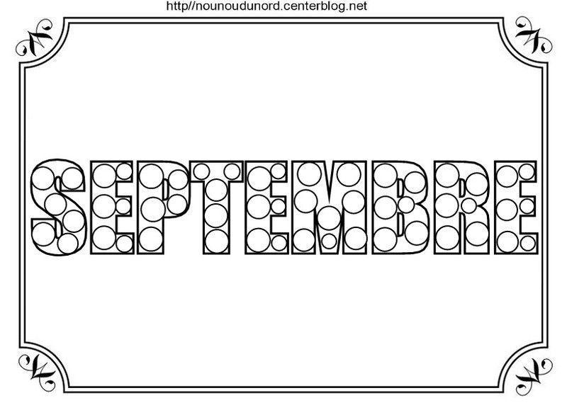 Mois De Septembre A Imprimer Nounou Sandra