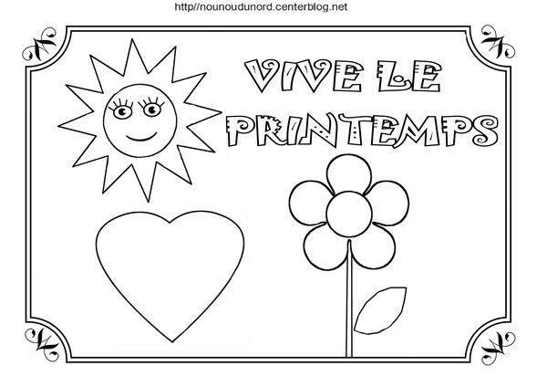 Coloriage Avril Printemps.Coloriage Vive Le Printemps A Gommettes Et En Couleur