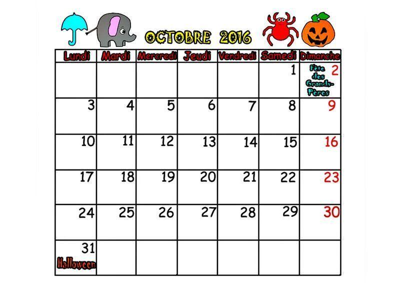 Calendrier 2016 mois septembre octobre novembre decembre - Calendrier lune octobre 2017 ...