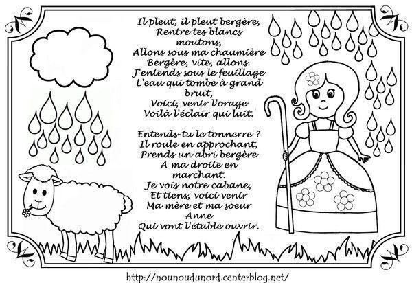 Comptine il pleut berg re colorier par nounoudunord - Il pleut dans ma maison ...
