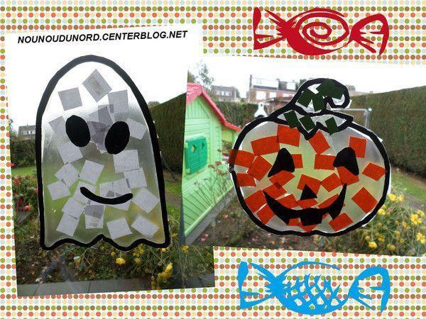 Fantôme et citrouille d'halloween pour décorer les fenêtres