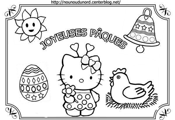 Coloriage Paques Hello Kitty.Coloriage Tableau De Paques Hello Kitty Par Nounoudunord