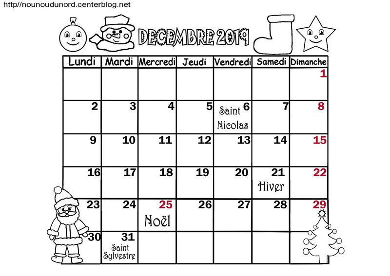 Calendrier Mensuel Decembre 2019.Calendrier 2019