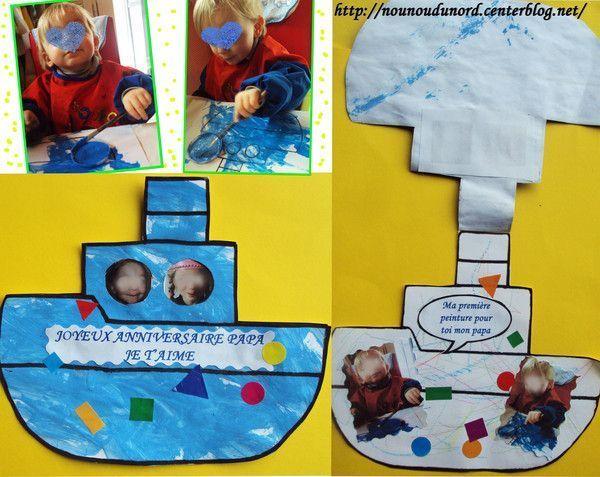 Carte d'anniversaire bateau pour le papa de Gaspard