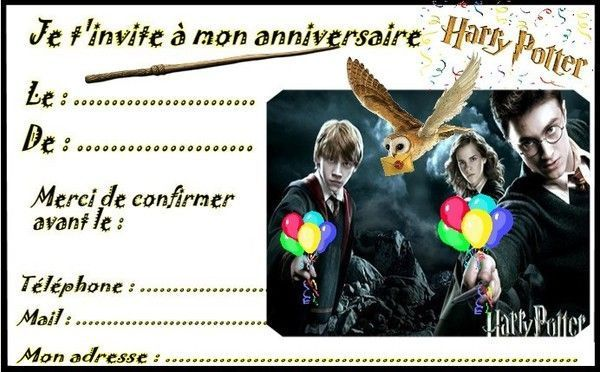 Top invitations Harry Potter pour anniversaire GL01