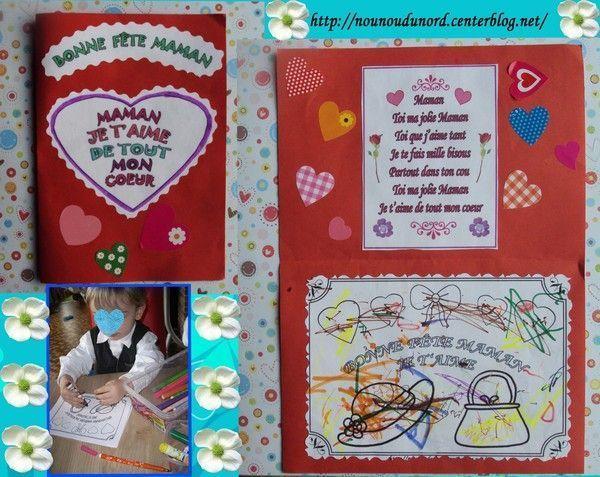 Carte avec coloriage et poème pour la maman de Gaspard