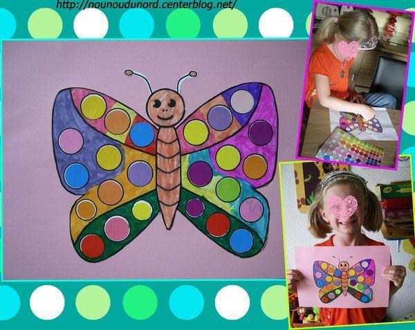 Coloriage à gommette papillon réalisé par Lison