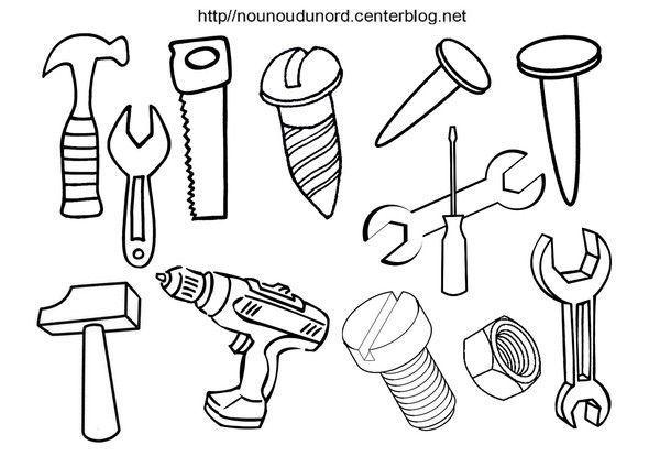 Coloriage gommettes outils quincailleries visseries - Coloriage bricolage ...