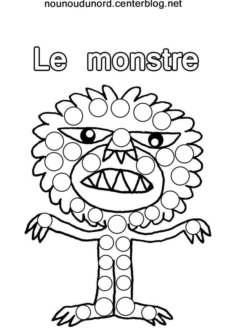 Coloriage halloween a gommettes page 2 - Monstres dessin ...
