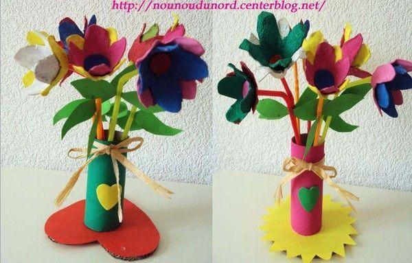 Bouquet de fleurs avec boîte à oeufs