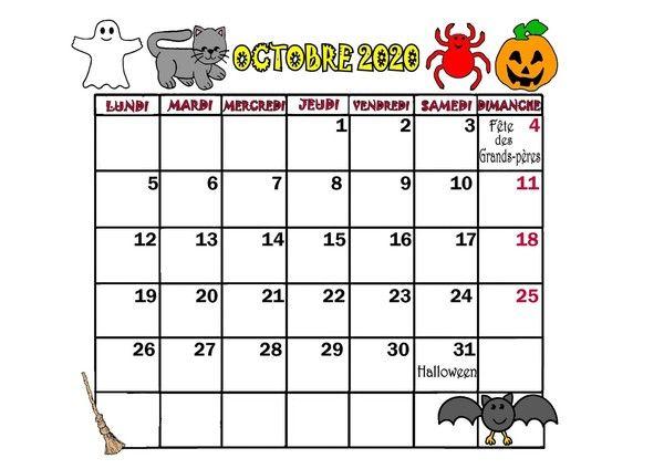 Calendrier Octobre 2020.Calendrier Annee 2020 Mois D Octobre