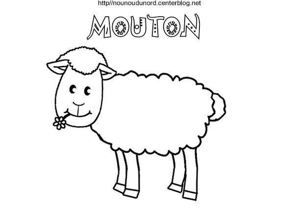 Mouton coloriage et gommettes en couleur - Mouton en dessin ...