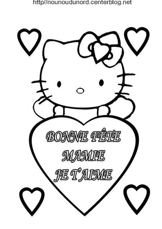 Coloriage Gratuit Bonne Fete Mamie.Hello Kitty Bonne Fete Mamie En Coloriage Et En Couleur