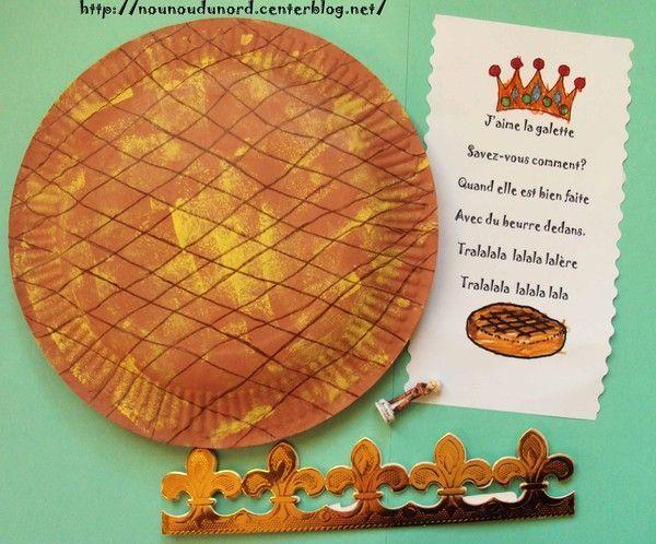 La galette des rois r alis e avec 2 assiettes en carton 2011 - Activite avec assiette en carton ...