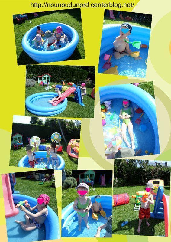 Mes 4 loulous dans la piscine