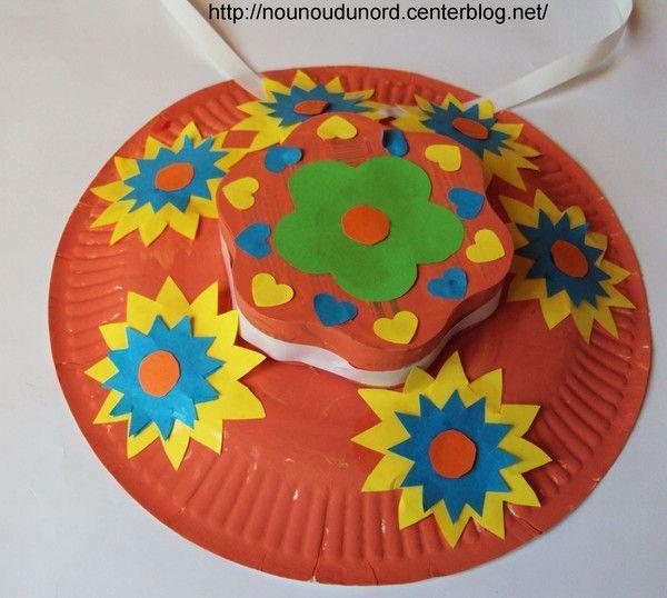 Chapeaux de printemps réalisées avec des assiettes carton