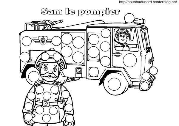 Sam le pompier coloriage pour les gommettes - Sam le pompier noel ...