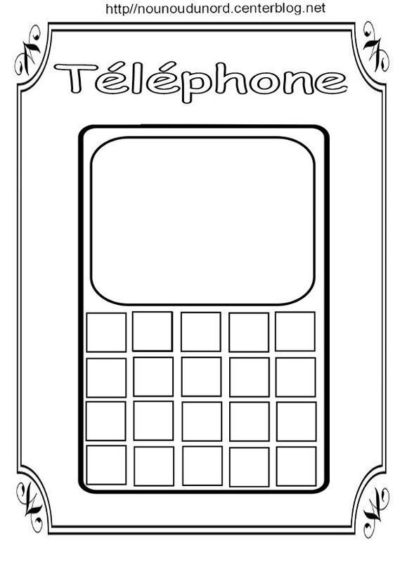 Coloriage Telephone.Telephone A Colorier