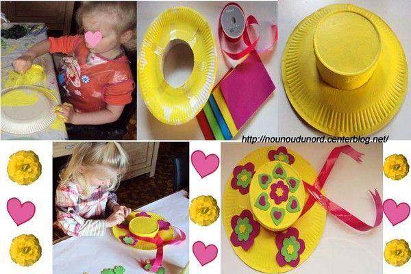 Chapeaux de printemps r alis s avec des assiettes carton for Cuillere pour decorer les assiettes