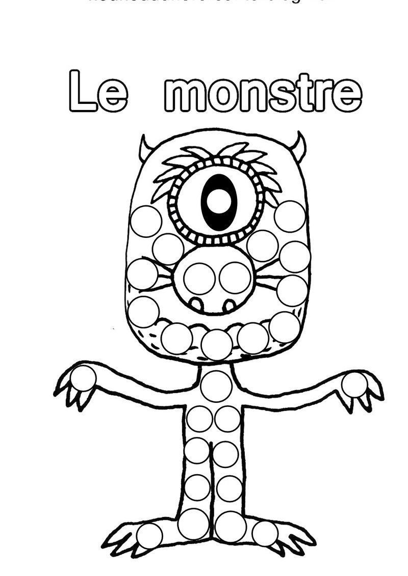 Coloriage halloween monstre - Dessin gommettes maternelle ...