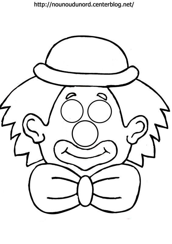 Coloriage Masque Clown.Masque Clown A Imprimer