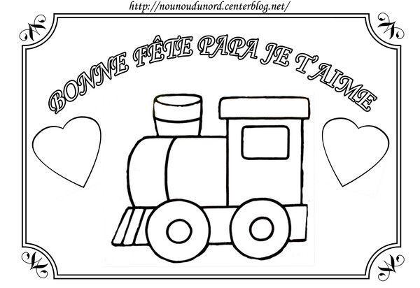 Coloriage train pour la f te des p res - Dessin train et wagon ...