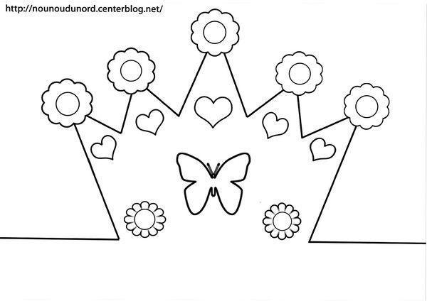 Couronne fleurs coeurs papillon - Dessin couronne princesse ...