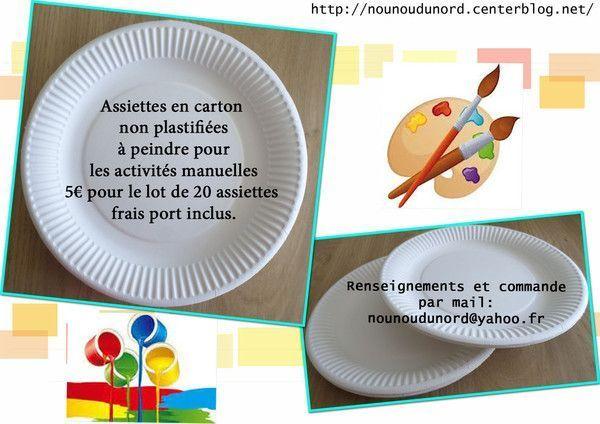 Vente assiettes carton non plastifiées pour activitémanuelle
