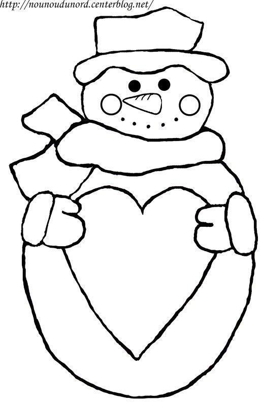 coloriage bonhomme de neige avec coeur. Black Bedroom Furniture Sets. Home Design Ideas