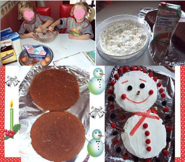 et recette du gâteau bonhomme de neige