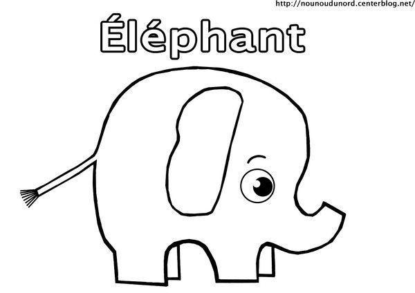 Coloriage animaux de la savane - Elephant en dessin ...