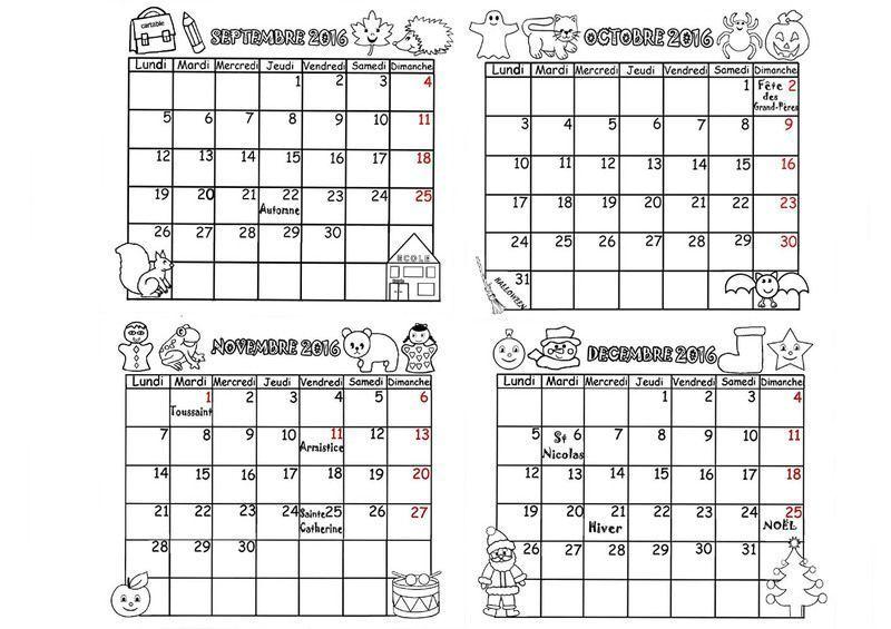 Calendrier mois par mois en PDF cliquez : .acrobat.com.