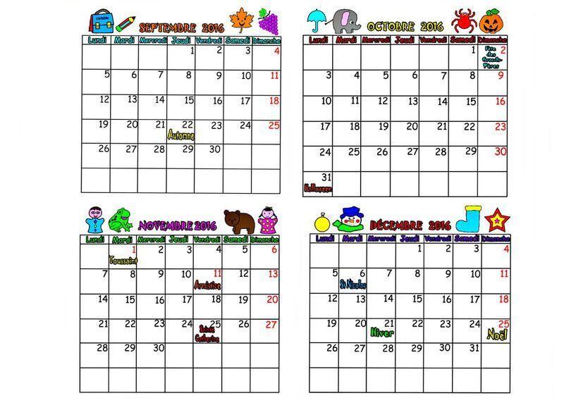 Calendrier 2016 mois septembre octobre novembre decembre - Calendrier du mois de juin 2017 ...