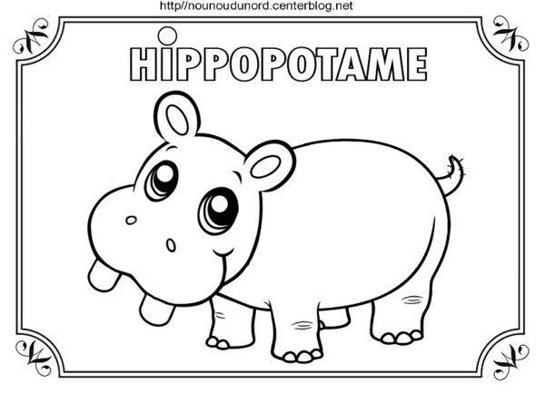 Hippopotame à Colorier Pour Gommettes En Couleur