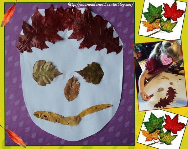 Tête réalisé avec des feuilles dautomne *Année 2011* - Centerblog
