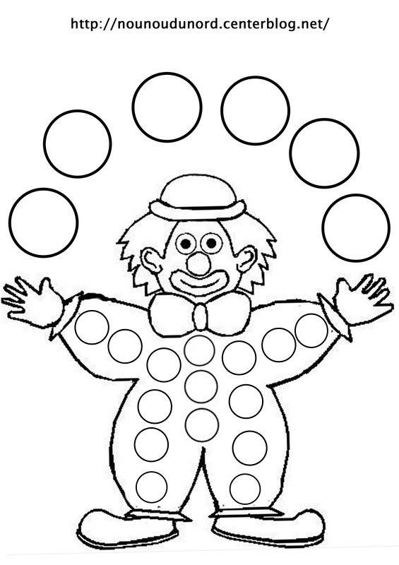 coloriage gommettes le clown dessin par nounoudunord