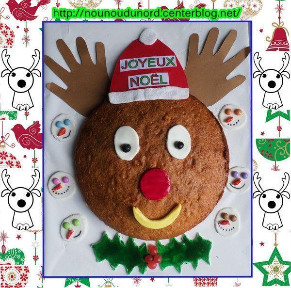 Gâteau du goûter de noël le renne et bonhommes de neige