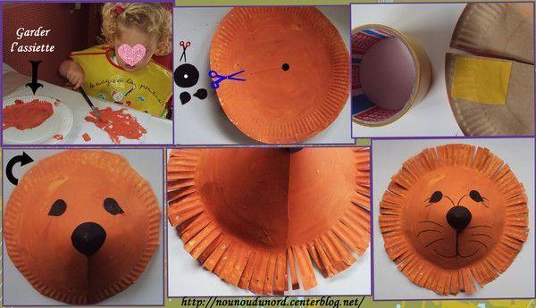 Le lion r alis avec une assiette en carton ann e2011 - Faire une araignee pour halloween ...