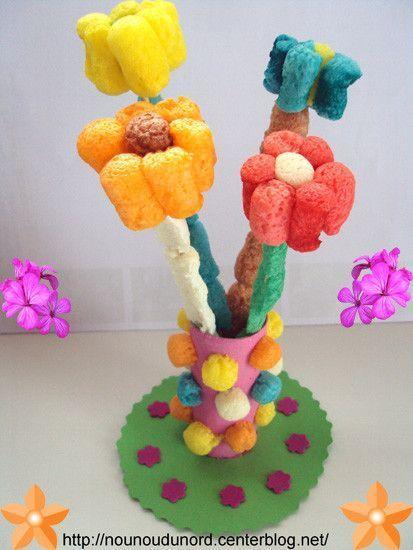 Activite avec flocon de mais - Activite manuelle fleur ...