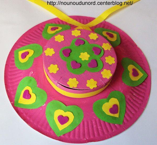 Chapeaux de printemps r alis s avec des assiettes carton - Activite manuelle avec du papier ...