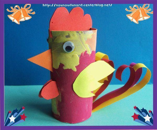 Le coq de Pâques réalisé avec un rouleau de papier wc