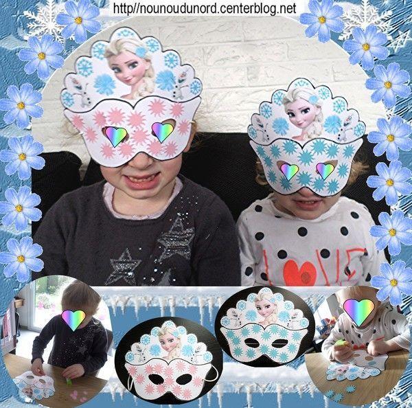 Mes 2 princesses avec leur masque de la reine des neiges - La reine des neige a imprimer ...