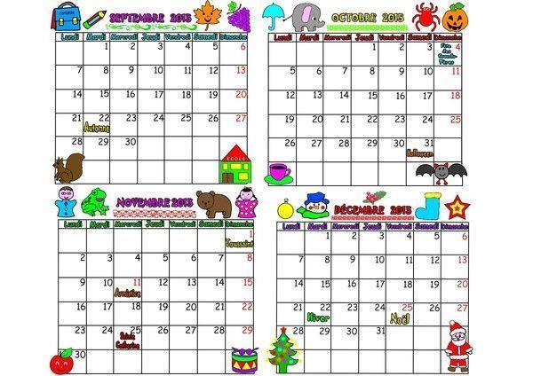 calendrier 2015 sur 4 mois de septembre à décembre