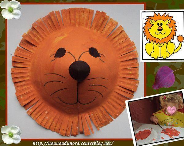 Le lion réalisé avec une assiette en carton