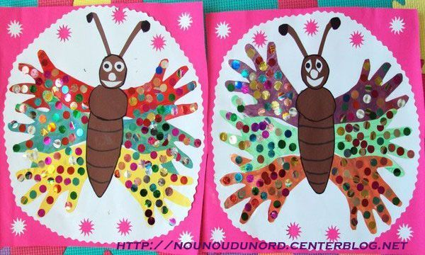 Papillon mains de lilou et liana explication photo suivante - Papillon maternelle ...