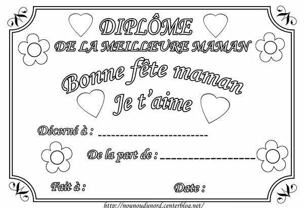 Diplome A Colorier Pour La Fete Des Meres